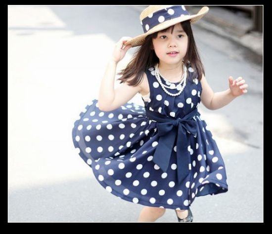 2013-New-Cotton-Dresses-For-Girls-Summer-With-Dot-Bow-2color-3-11Age-Children-clothing-A116